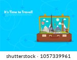it s time to travel.trip to... | Shutterstock .eps vector #1057339961