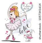 cute ballerina girl and little... | Shutterstock .eps vector #1057341614