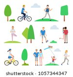 set of people in park. man ... | Shutterstock .eps vector #1057344347
