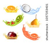 fruits in splashing juice.... | Shutterstock .eps vector #1057353401