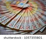50 euros money cash banknotes ... | Shutterstock . vector #1057355801