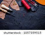 leather craft instruments on... | Shutterstock . vector #1057359515