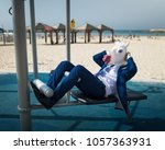 freaky man in suit and funny... | Shutterstock . vector #1057363931