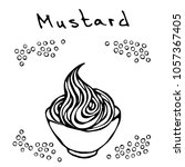 small white bowl of mustard and ... | Shutterstock .eps vector #1057367405