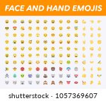 all basic face and hand emojis  ... | Shutterstock .eps vector #1057369607