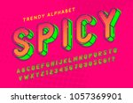 condensed display font popart... | Shutterstock .eps vector #1057369901