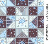 seamless stitched patchwork... | Shutterstock .eps vector #1057372061