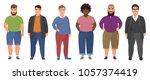 happy fat man set in casual... | Shutterstock .eps vector #1057374419