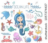 marine life illustrations set.... | Shutterstock .eps vector #1057374437