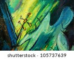 angel and cross, painting by oil on a canvas, illustration - stock photo