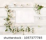 frame of flowers cherry tree on ... | Shutterstock . vector #1057377785