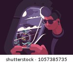 man in plane near porthole.... | Shutterstock .eps vector #1057385735
