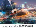 double exposure of businessman...   Shutterstock . vector #1057388489