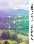 interlocking circles flower of... | Shutterstock .eps vector #1057391861
