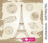 hipster or vintage postcard... | Shutterstock . vector #1057402781