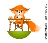 isolated red cartoon fox cub on ... | Shutterstock .eps vector #1057409117