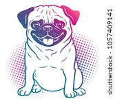 pug dog pop art style... | Shutterstock .eps vector #1057409141