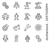 thin line icon set   wrench... | Shutterstock .eps vector #1057420094