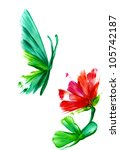 watercolor an abstract flower... | Shutterstock . vector #105742187