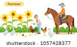 Smiling senior woman standing happily in her backyard, while chickens and ducks  are gathered around on the grass at her feet and an older man on a horse. white background. Vector illustration in flat - stock vector