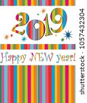 happy new year 2019  greeting... | Shutterstock . vector #1057432304