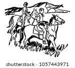 couple horseback riding 3  ... | Shutterstock .eps vector #1057443971