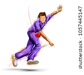 illustration of bowler bowling... | Shutterstock .eps vector #1057445147