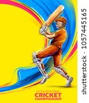 illustration of batsman playing ... | Shutterstock .eps vector #1057445165