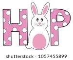 happy easter hop bunny | Shutterstock .eps vector #1057455899