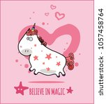 unicorn cute illustration with...   Shutterstock .eps vector #1057458764