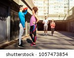 after outdoors workout it's... | Shutterstock . vector #1057473854