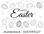 easter eggs composition hand... | Shutterstock .eps vector #1057495127