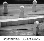 Small photo of The concept of misunderstanding a barrier in relations denial of society. Barriers between people prejudice. social classes