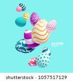 composition of 3d easter eggs.... | Shutterstock .eps vector #1057517129