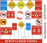 beach closed signs set. vector | Shutterstock .eps vector #105753155