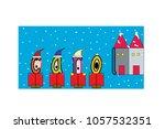christmas carolers illustrated... | Shutterstock .eps vector #1057532351