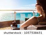 the girl in sunglasses... | Shutterstock . vector #1057538651
