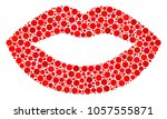 sexy lips collage of circle...   Shutterstock .eps vector #1057555871
