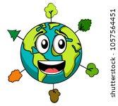 happy earth emote. earth day | Shutterstock .eps vector #1057564451