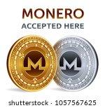 monero. accepted sign emblem.... | Shutterstock .eps vector #1057567625
