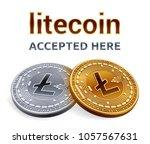 litecoin. accepted sign emblem. ... | Shutterstock .eps vector #1057567631