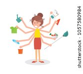busy multitasking housewife... | Shutterstock .eps vector #1057580984