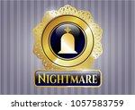 golden emblem with tombstone... | Shutterstock .eps vector #1057583759