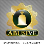 gold shiny emblem with... | Shutterstock .eps vector #1057593395