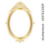 oval frame and borders golden... | Shutterstock .eps vector #1057613339