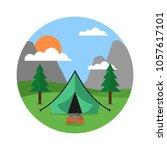 sunny day landscape illustration   Shutterstock .eps vector #1057617101
