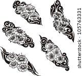 tribal flower tattoos. set of... | Shutterstock .eps vector #105763331