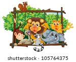 illustration of various animals ... | Shutterstock .eps vector #105764375