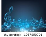 abstract blue music notes on... | Shutterstock .eps vector #1057650701
