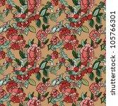 vector retro floral seamless... | Shutterstock .eps vector #105766301